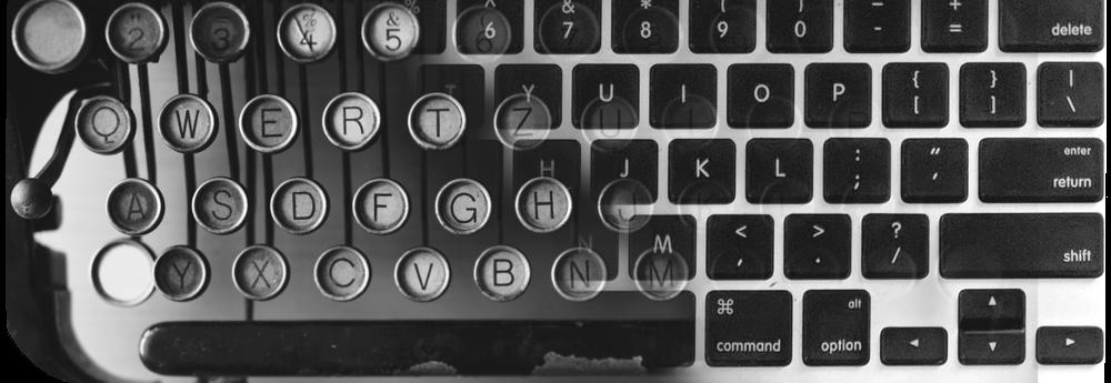 Typewriter and laptop keyboard blurred together