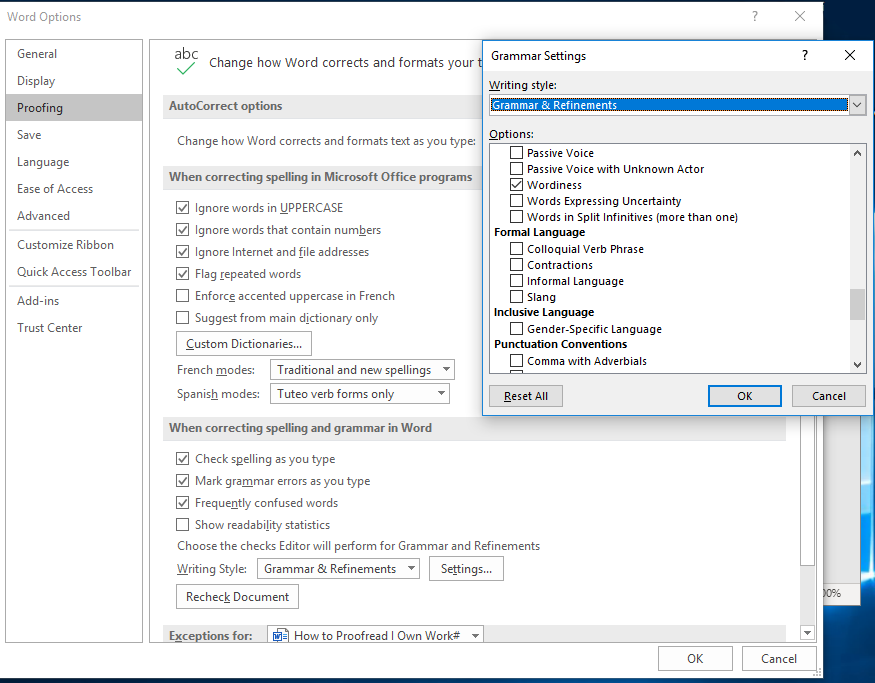 Screenshot of MS Word's grammar settings