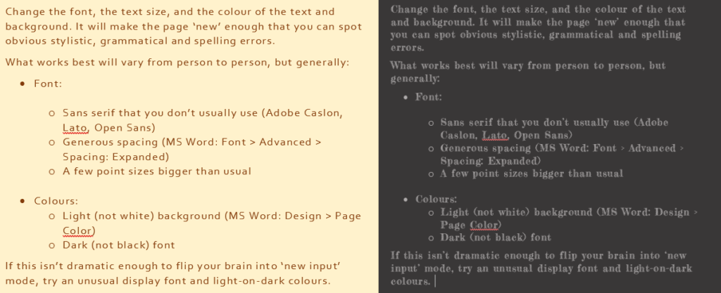 Two screenshots showing text with altered fonts and colours